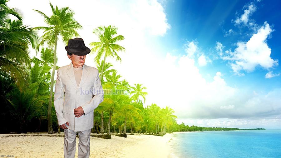 Белый льняной мужской летний костюм из 100% натурального льна