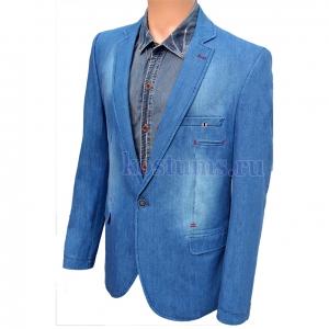 Стильный джинсовый пиджак ярко-синего цвета
