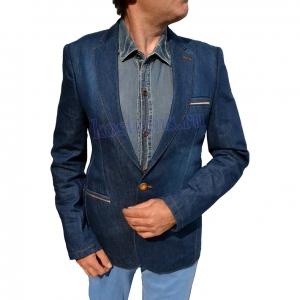 стильный приталенный джинсовый пиджак тёмно-синего цвета