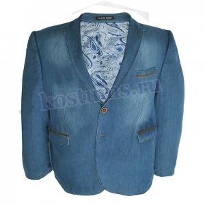 Стильный джинсовый мужской пиджак гигантских размеров до 72-ого