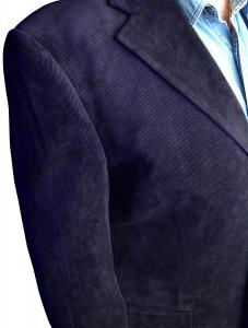 Классический вельветовый мужской пиджак темно-синего цвета