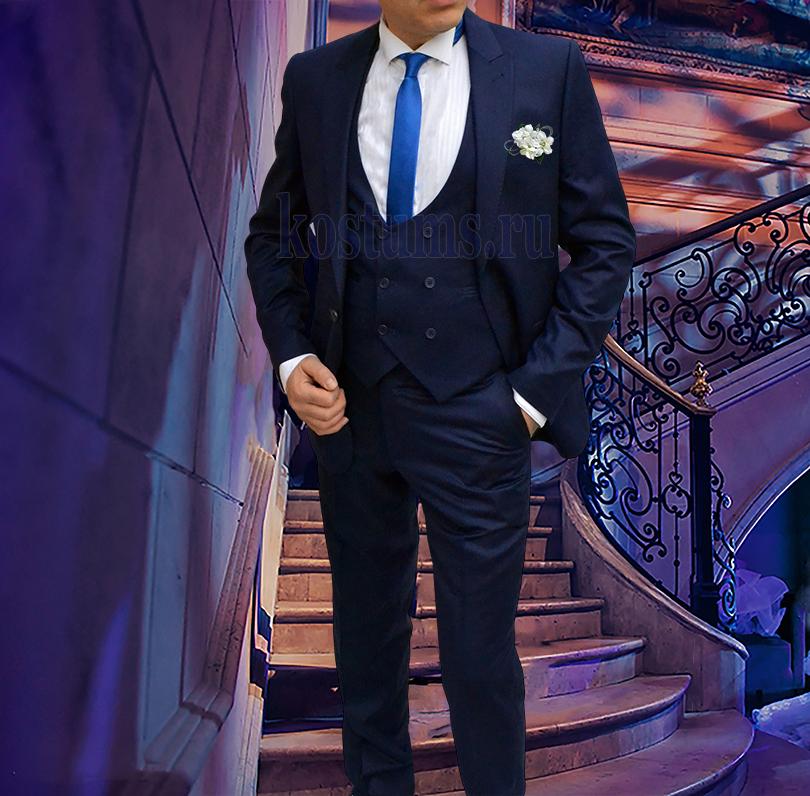 Стильный приталенный мужской костюм-тройка тёмно-синего цвета Navy Blue