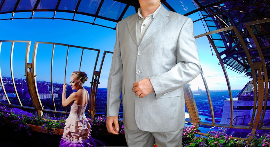 Летний льняной мужской костюм серо-голубой  из 100% натурального льна
