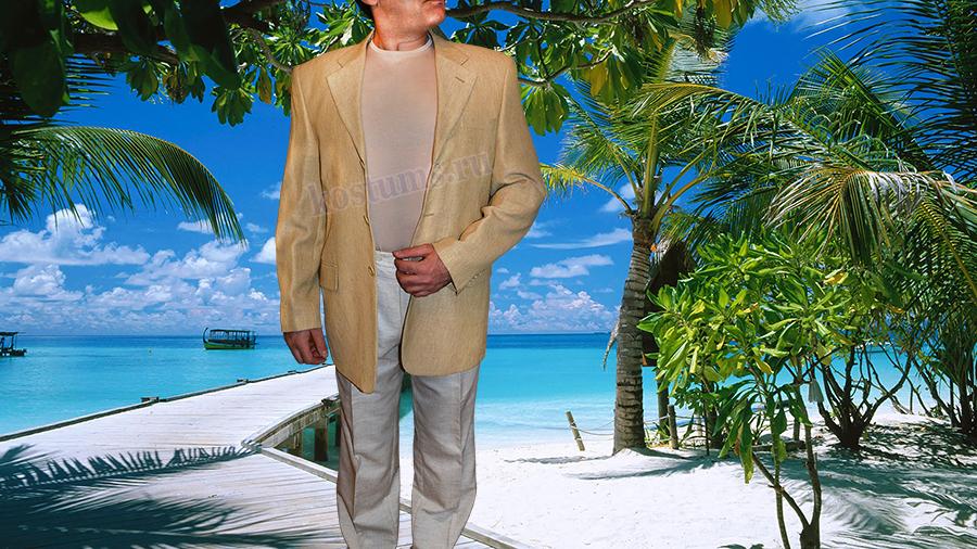 Летний мужской пиджак льняной бежевый в мелкую полоску