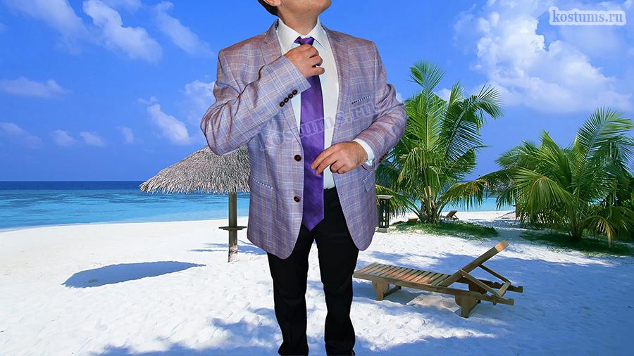 Мужской летний пиджак светло-фиолетовый (индиго) Летние мужские пиджаки из натуральных тканей