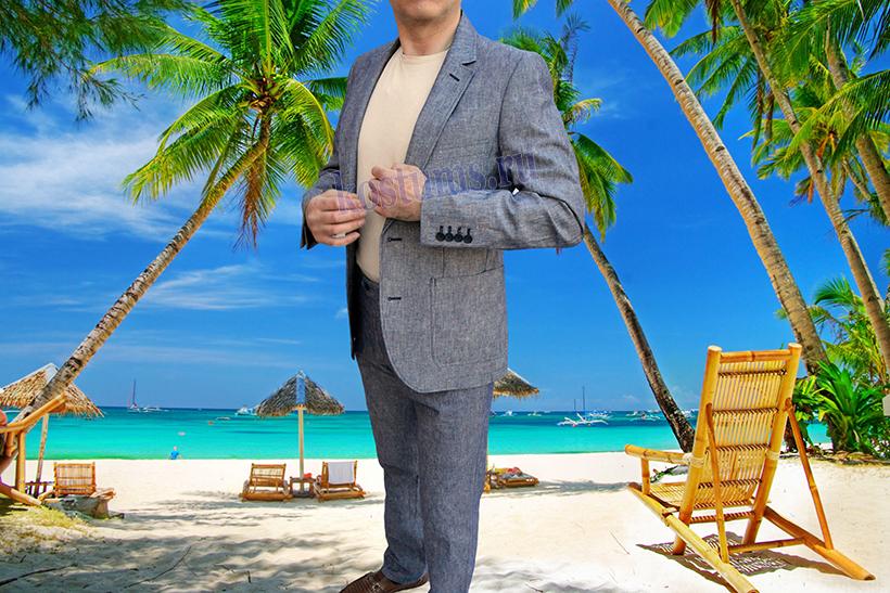 Стильный летний мужской костюм из натурального льна. В наличии большие размеры до 70-ого