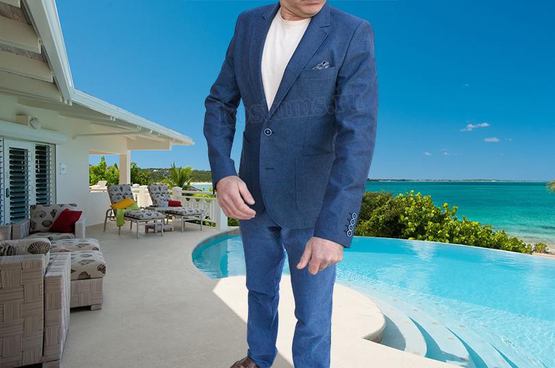 стильный и лёгкий Тёмно-синий летний мужской пиджак, натуральный хлопок