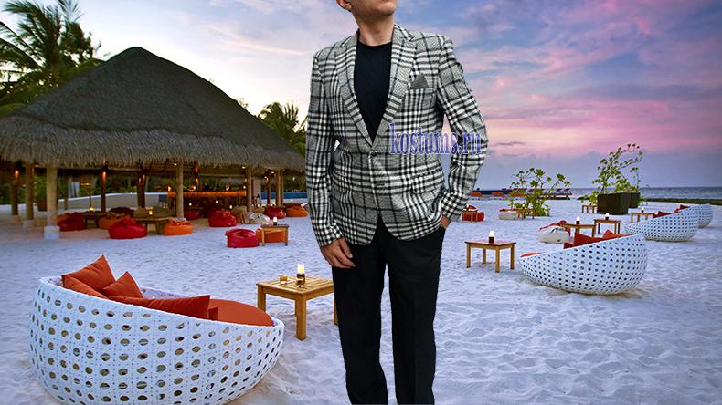 Легкий мужской пиджак с ярко выраженными полосками и клеткой, можно сказать, что пиджак и в клетку, и в полоску