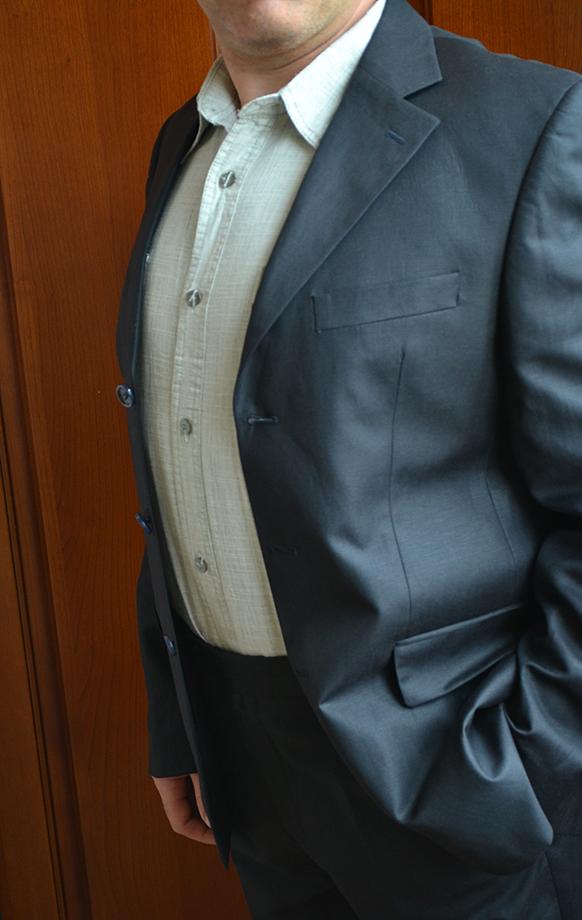 Льняной летний мужской костюм чёрный из льна на 100%