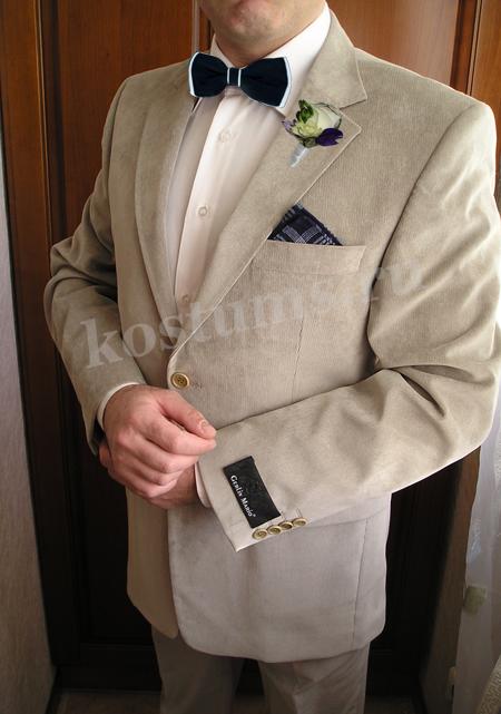 Стильный классический мужской костюм вельветовый светло-серый