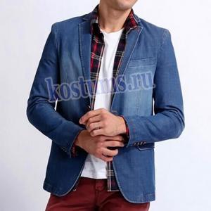 Молодёжный приталенный джинсовый пиджак мужской синего цвета