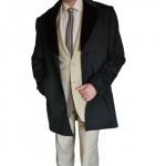 Мужское полупальто кашемировое тёмно-серое  с меховым воротником (искуственный мех) выполнен из натуральной шерсти с добавлением кашемира 20%.