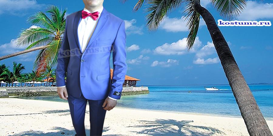 """Синий свадебный мужской костюм с красным галстуком и бабочкой. Этот костюм ярко синего цвета, или как ещё называют """"электрик"""", или """"васильковый цвет"""