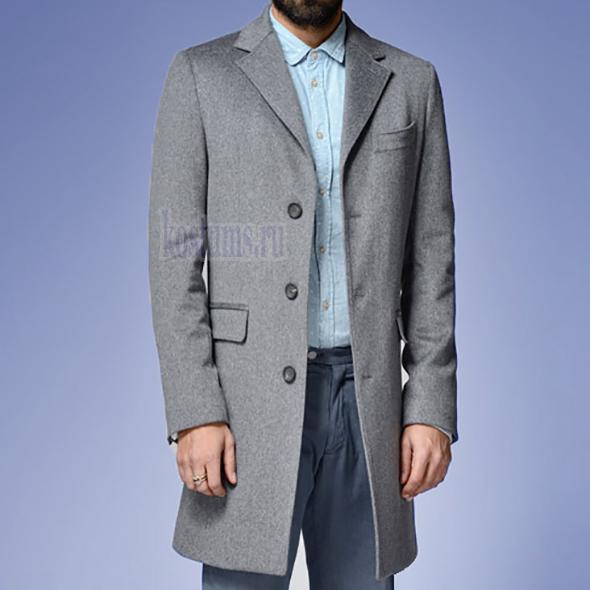 f9e1a54f7dd Светло-серое короткое мужское пальто