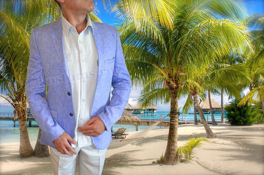 Летний светло-синий мужсой пиджак выполнен из 100%-ого натурального льна с подкладкой из натурального шёлка