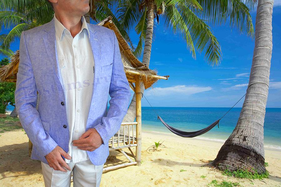 Лёгкий светлый мужской костюм из натурального льна на летний сезон или поездку