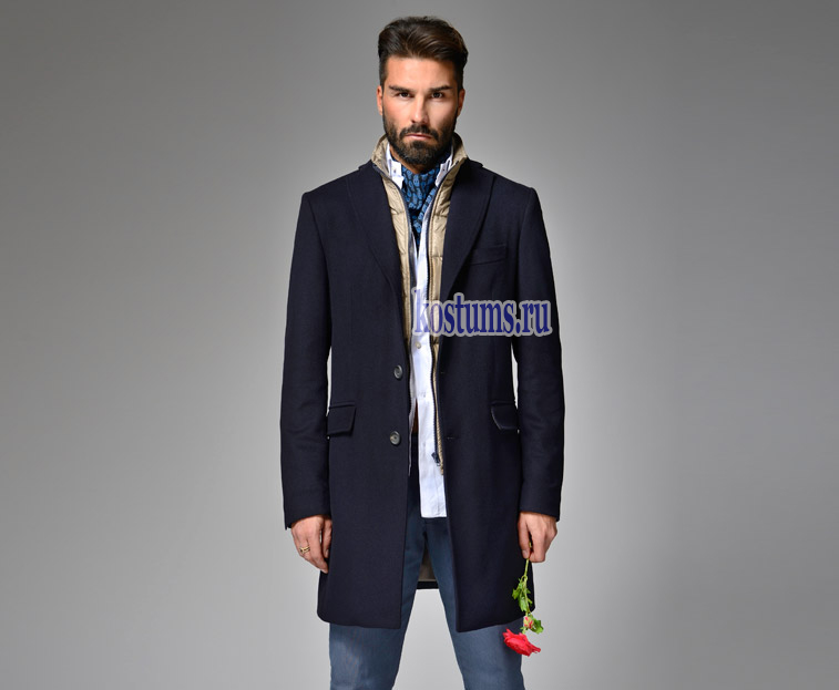 bf80b978e98 Тёмно-синее короткое мужское пальто