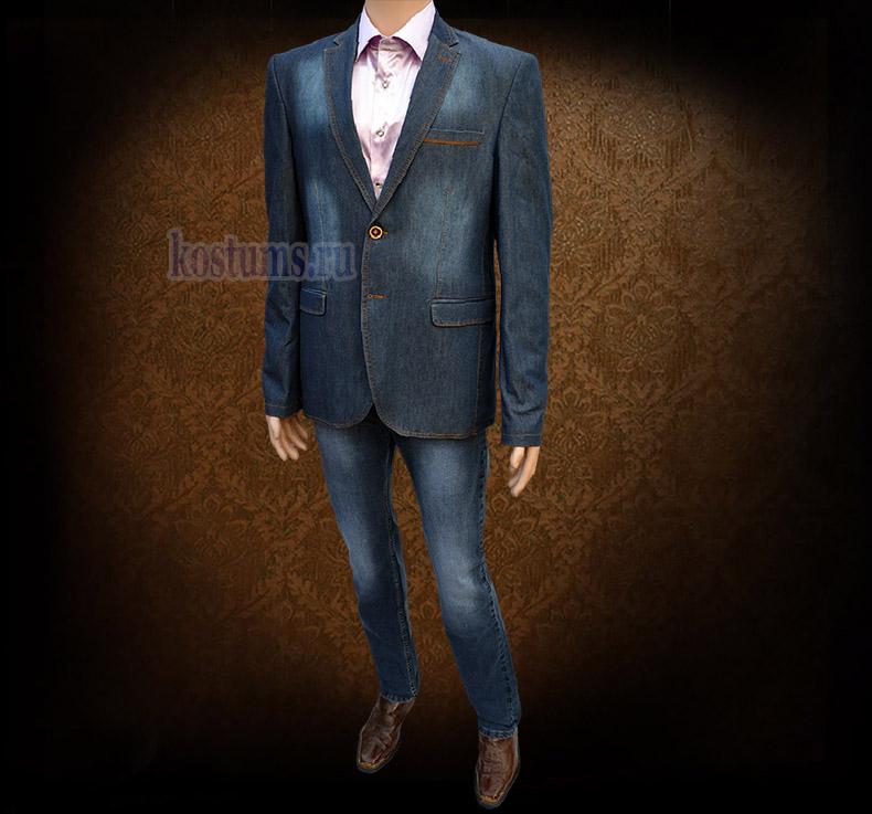 Стильный тёмно-синий джинсовый мужской костюм, на рукавах пиджака налокотники