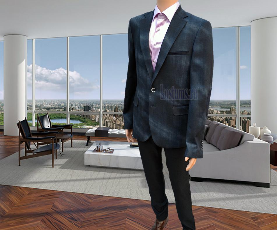 Джинсовый костюм мужской тёмно синего цвета с налокотниками