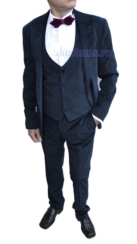 Велюровый мужской костюм с жилетом тёмно-синего цвета