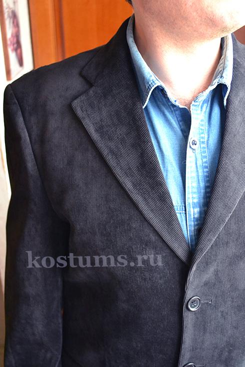 Стильный и всегда модный классический вельветовый мужской костюм тёмно-синий