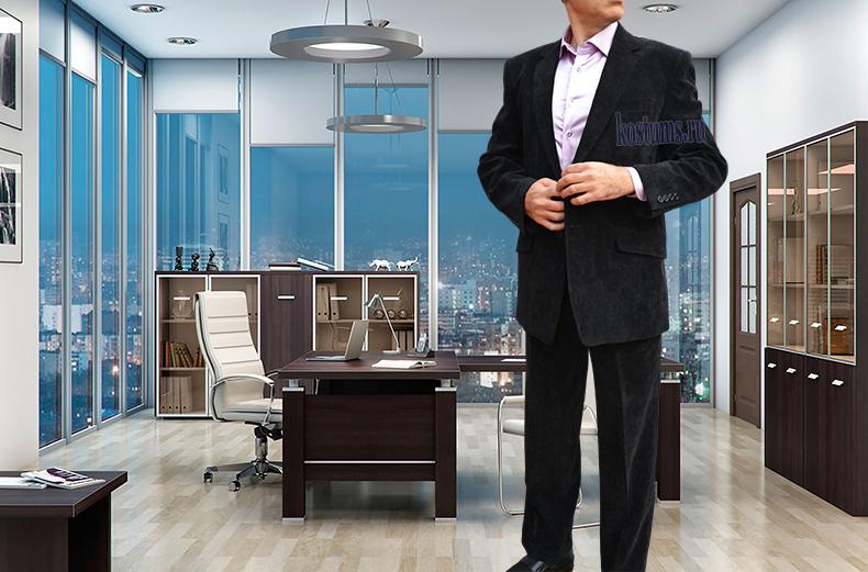 Стильный и модный черный вельветовый мужской пиджак можно носить с джинсовыми брюками