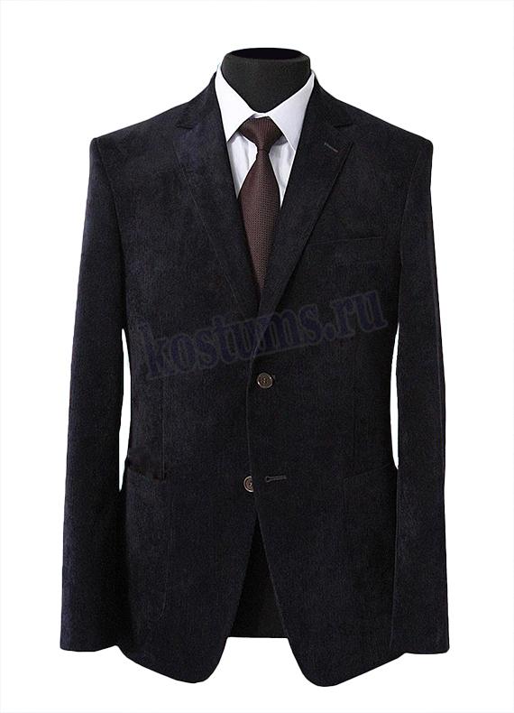 Классический вельветовый мужской пиджак чёрного цвета